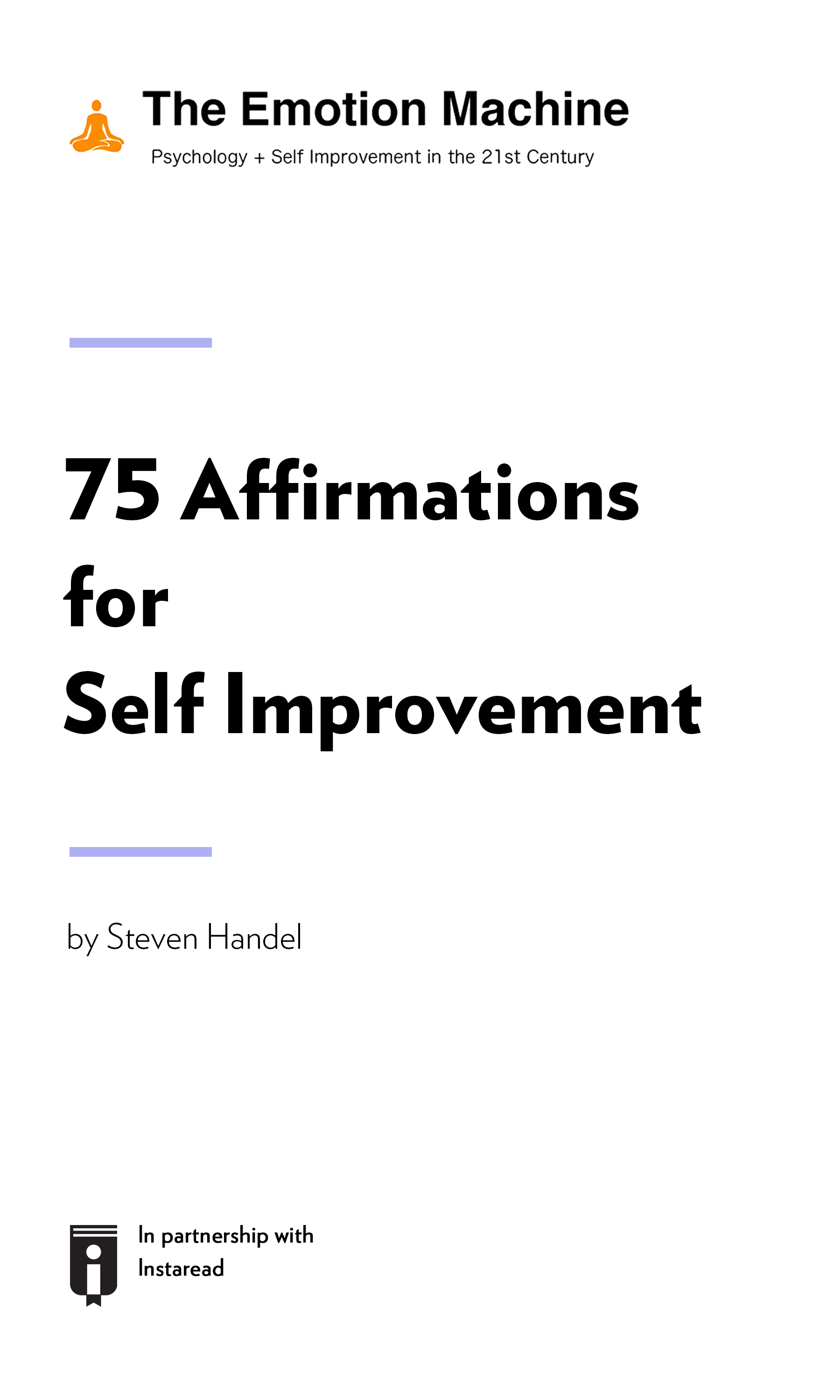 """Book Cover for """"75 Affirmations for Self Improvement"""""""