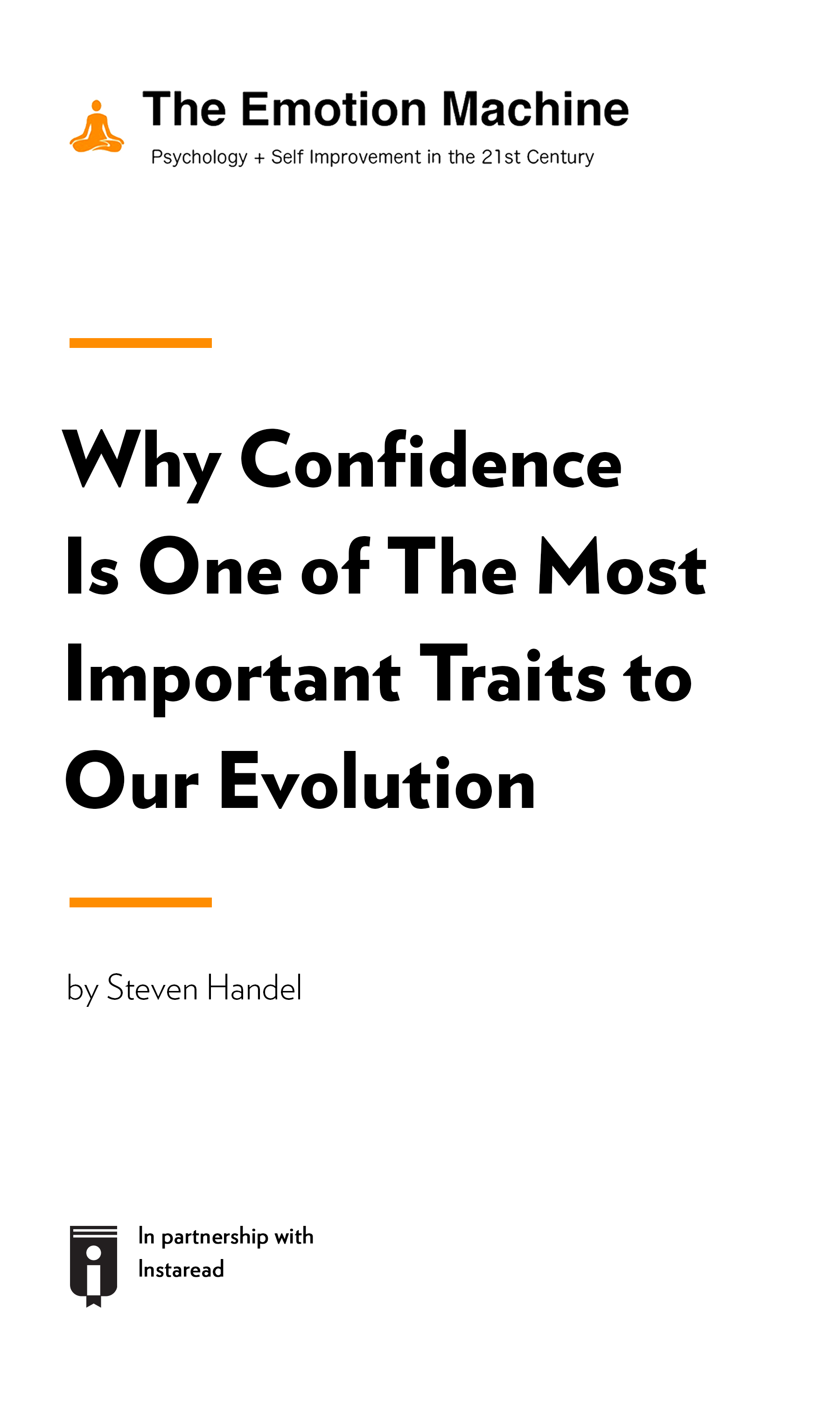 "Book Cover for ""Why Confidence Is One of The Most Important Traits to Our Evolution"""