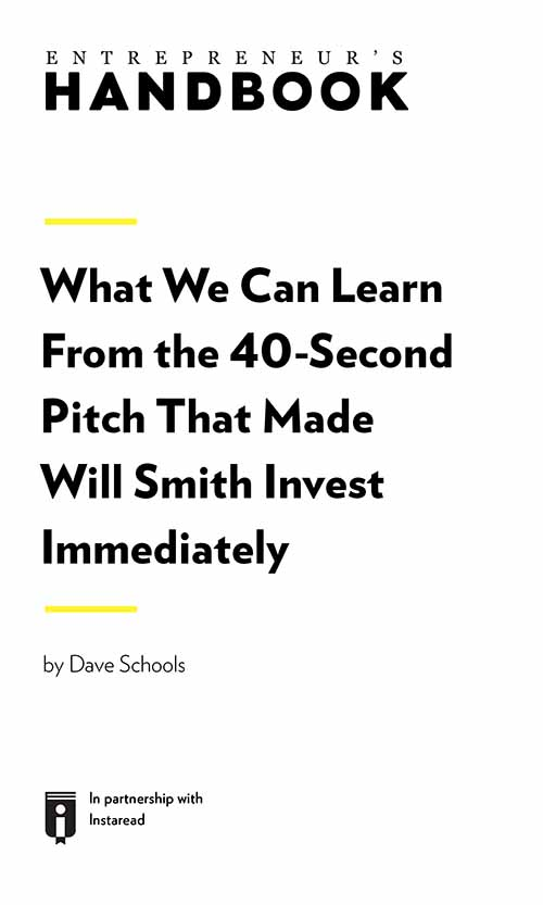 "Book Cover for ""What We Can Learn From the 40-Second Pitch That Made Will Smith Invest Immediately"""
