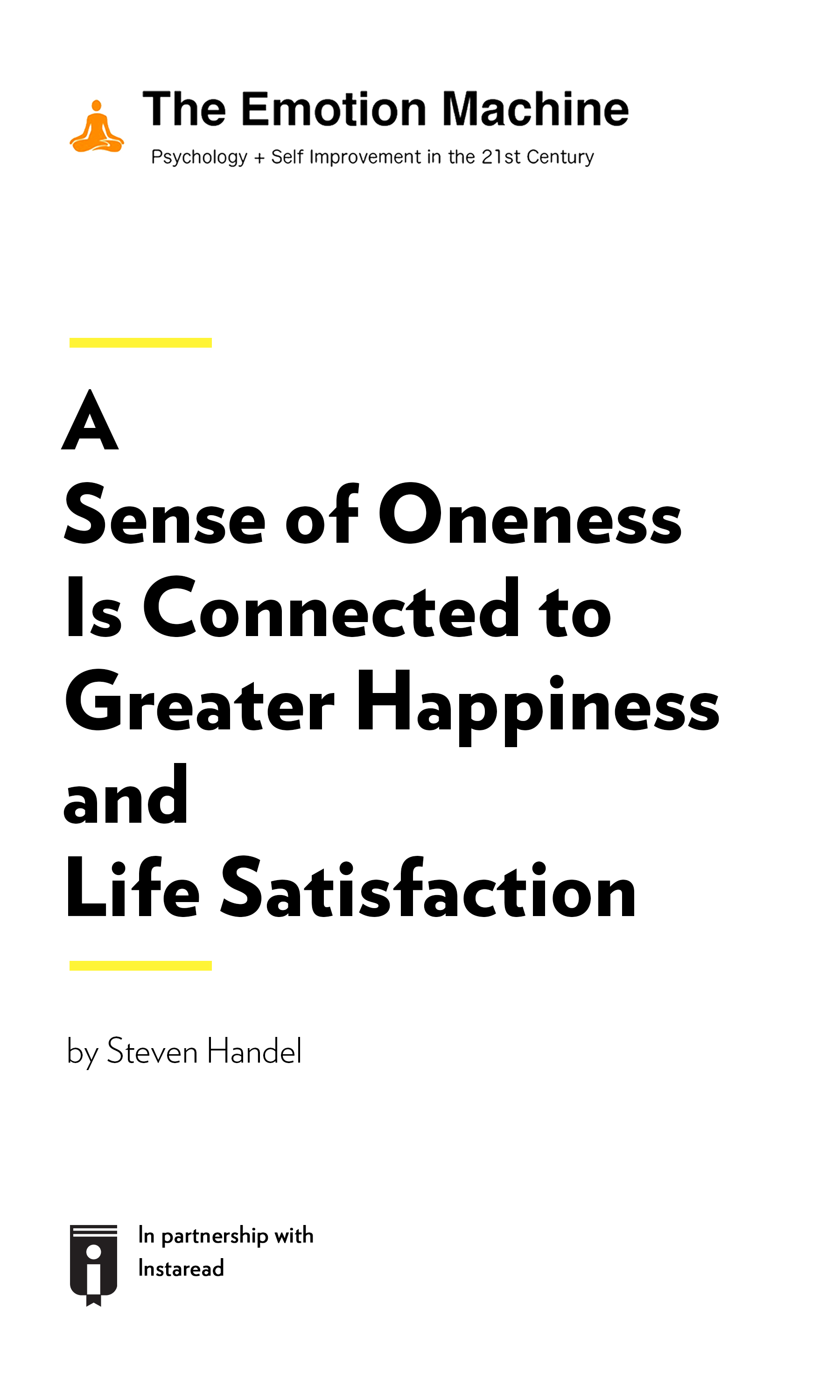 """Book Cover for """"A Sense of Oneness Is Connected to Greater Happiness and Life Satisfaction"""""""