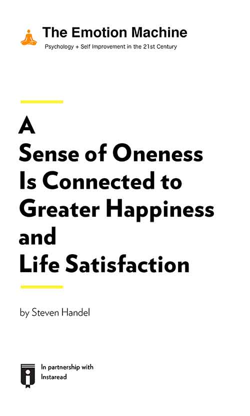 "Book Cover for ""A Sense of Oneness Is Connected to Greater Happiness and Life Satisfaction"""