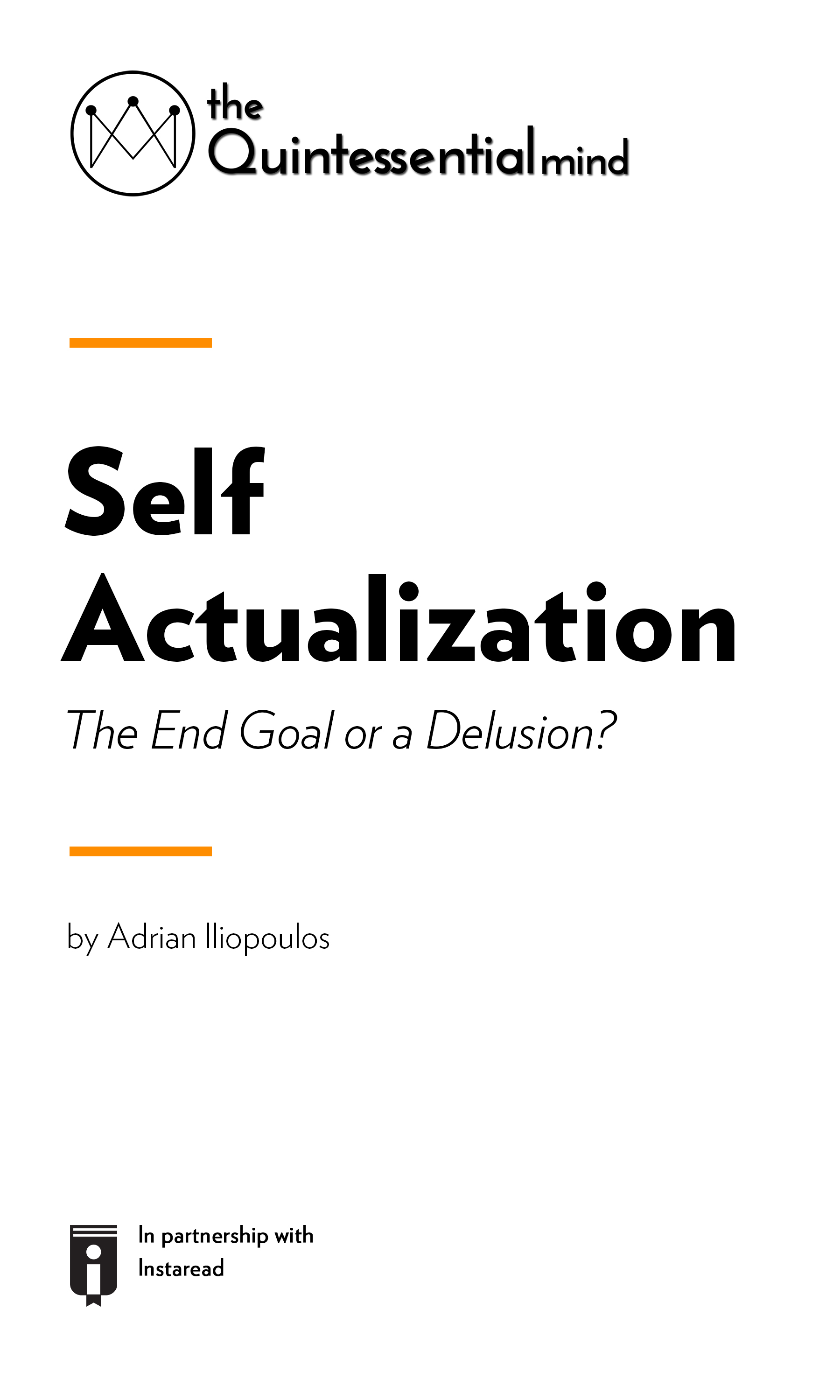 """Book Cover for """"Self Actualization – The End Goal or a Delusion? """""""