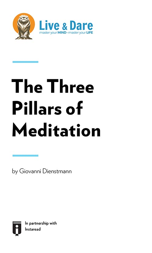 "Book Cover for ""The Three Pillars of Meditation"""