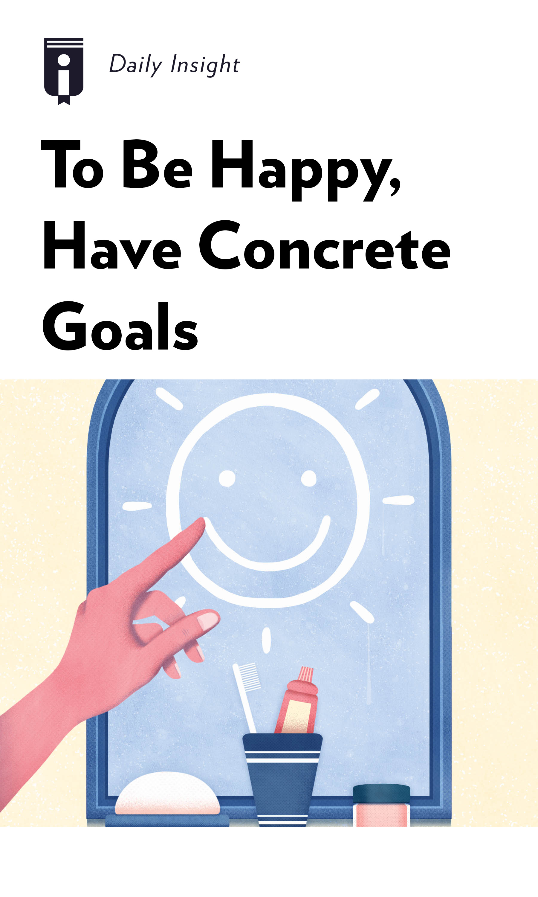 "Book Cover for ""To Be Happy, Have Concrete Goals"""