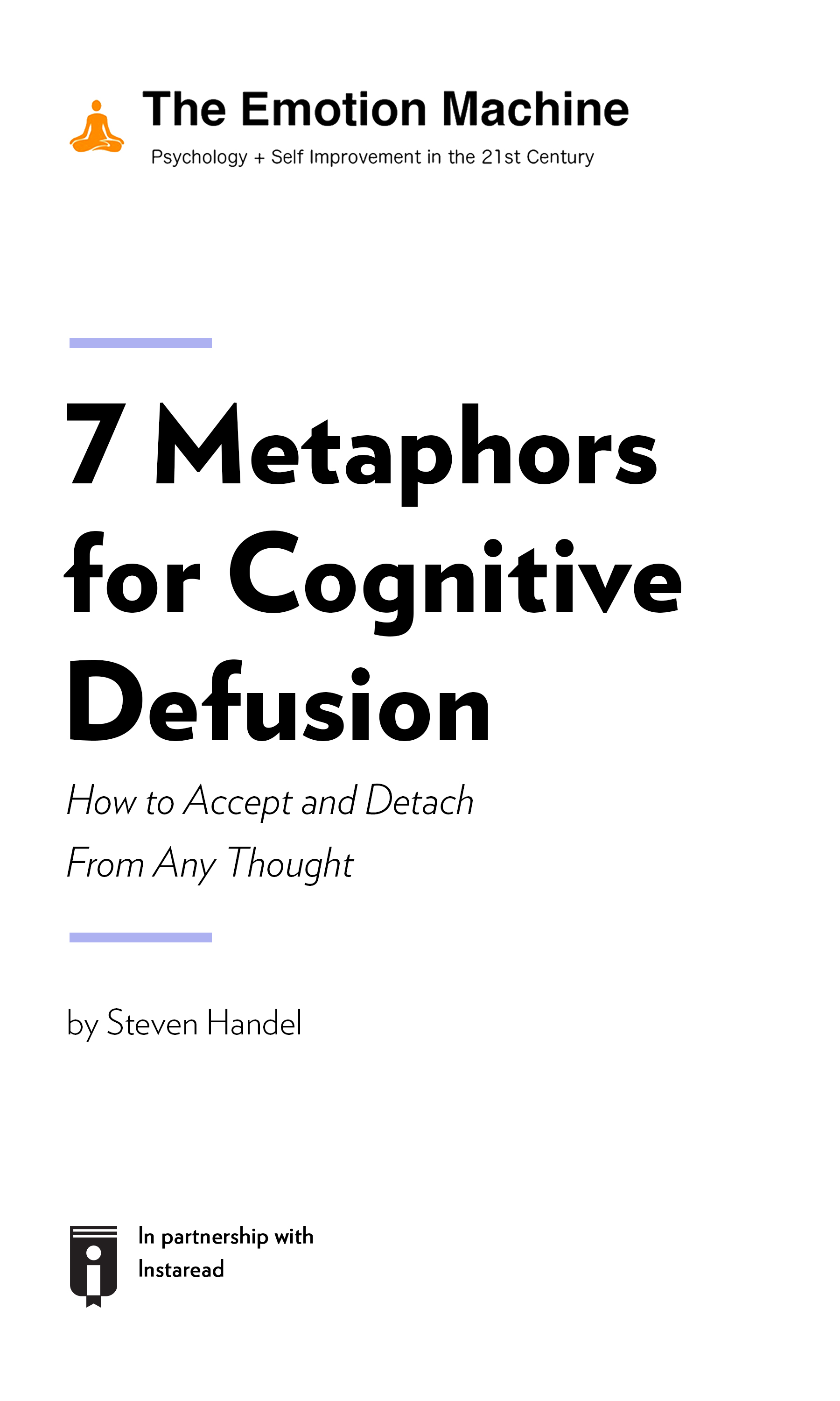 """Book Cover for """"7 Metaphors for Cognitive Defusion: How to Accept and Detach From Any Thought"""""""