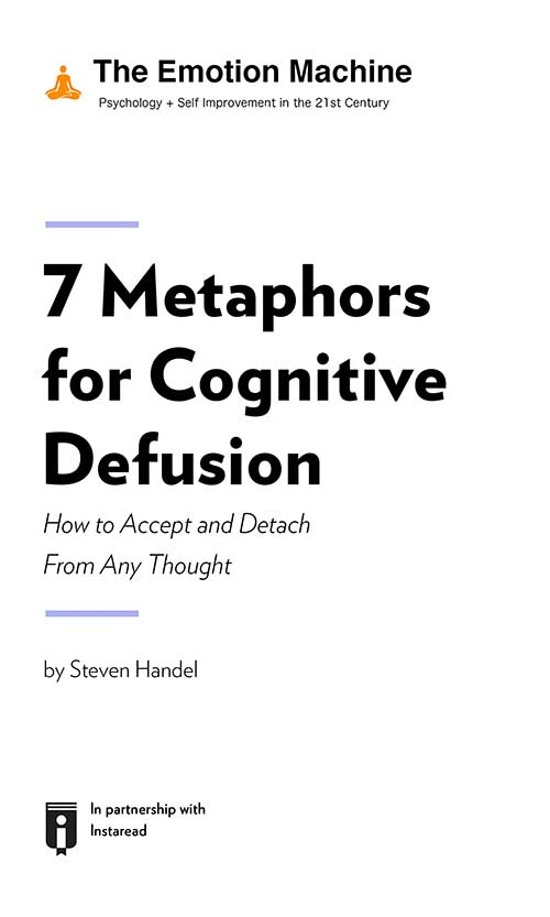 "Book Cover for ""7 Metaphors for Cognitive Defusion: How to Accept and Detach From Any Thought"""