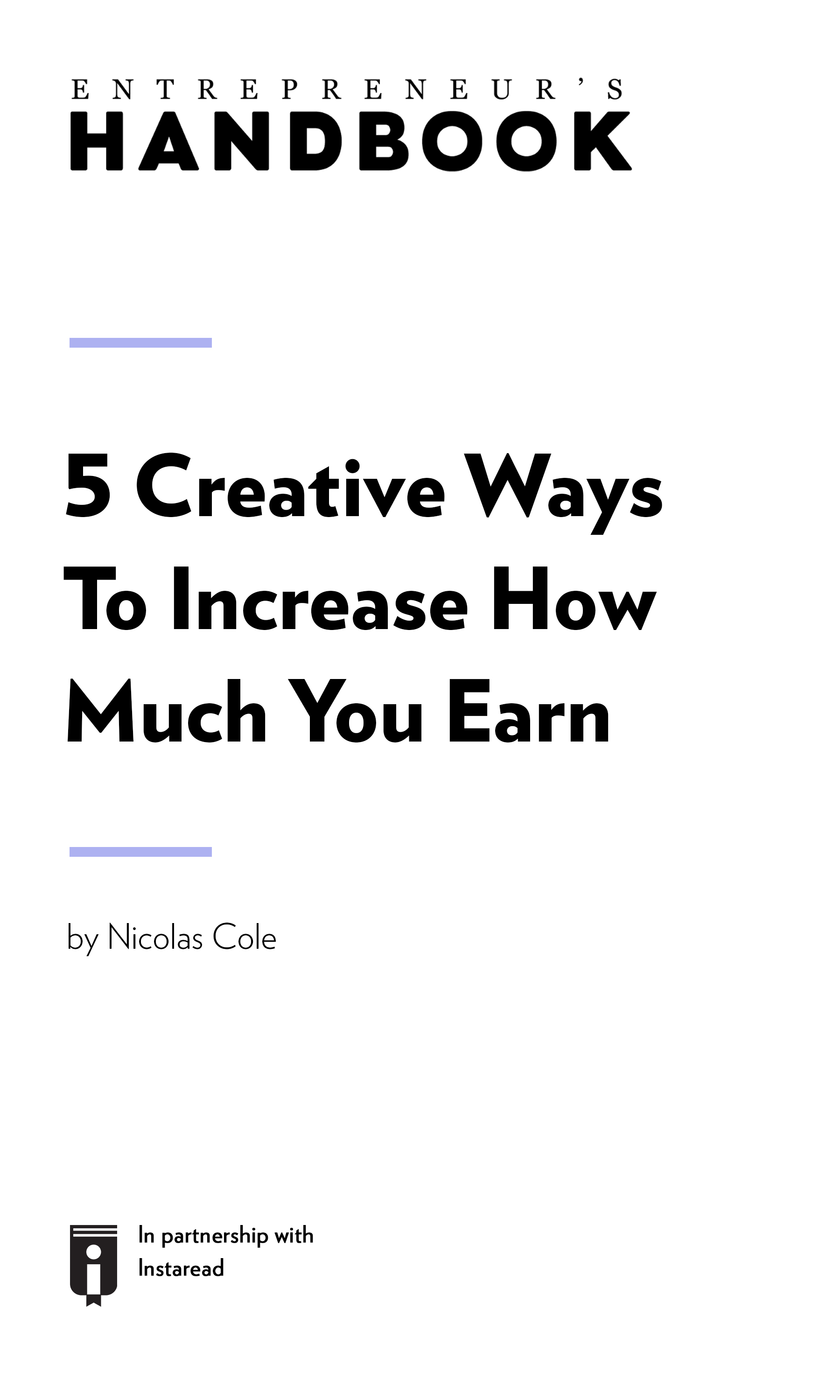 "Book Cover for ""5 Creative Ways To Increase How Much You Earn"""