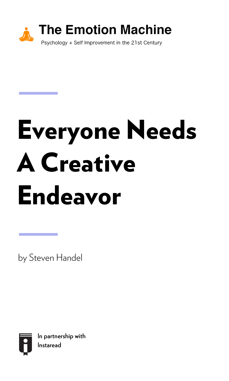 "Book Cover for ""Everyone Needs A Creative Endeavor"""