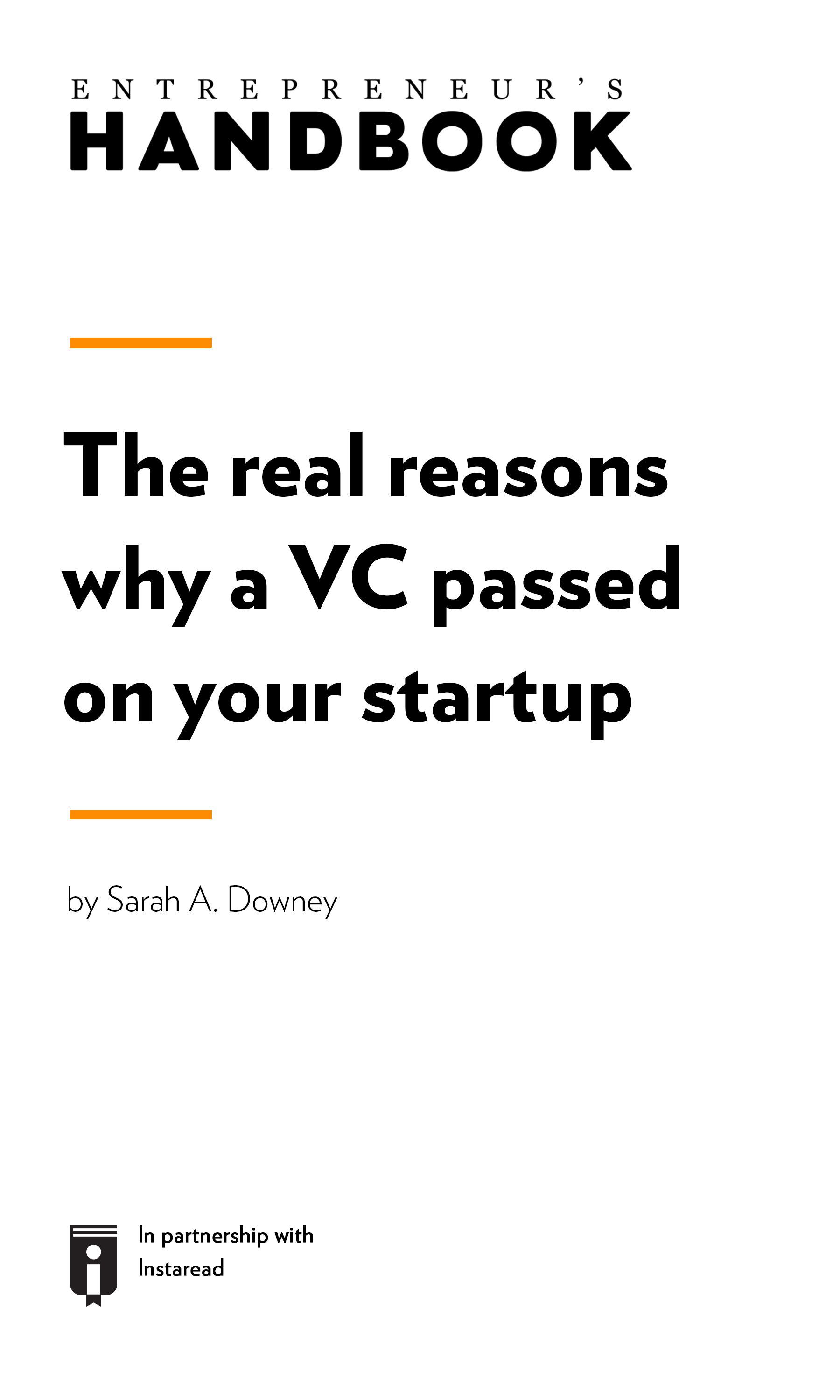 "Book Cover for ""The real reasons why a VC passed on your startup"""