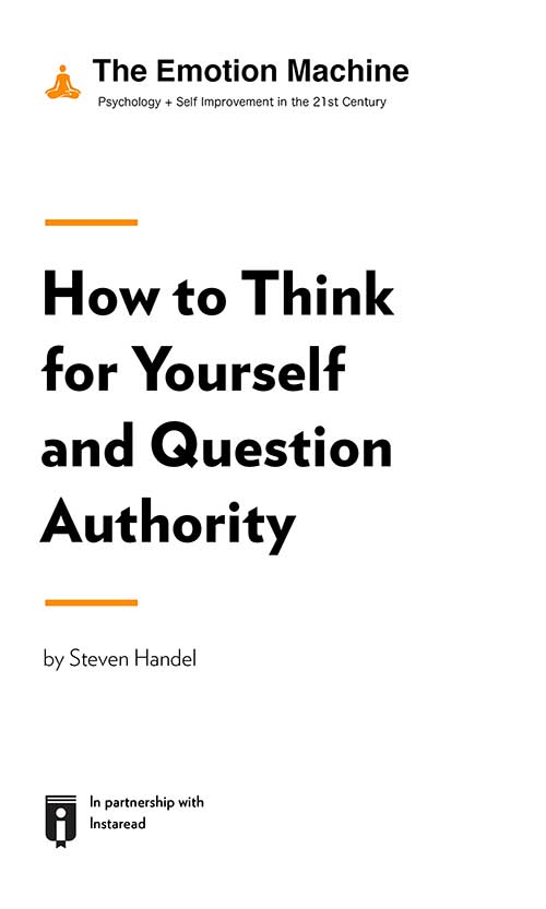 "Book Cover for ""How to Think for Yourself and Question Authority"""
