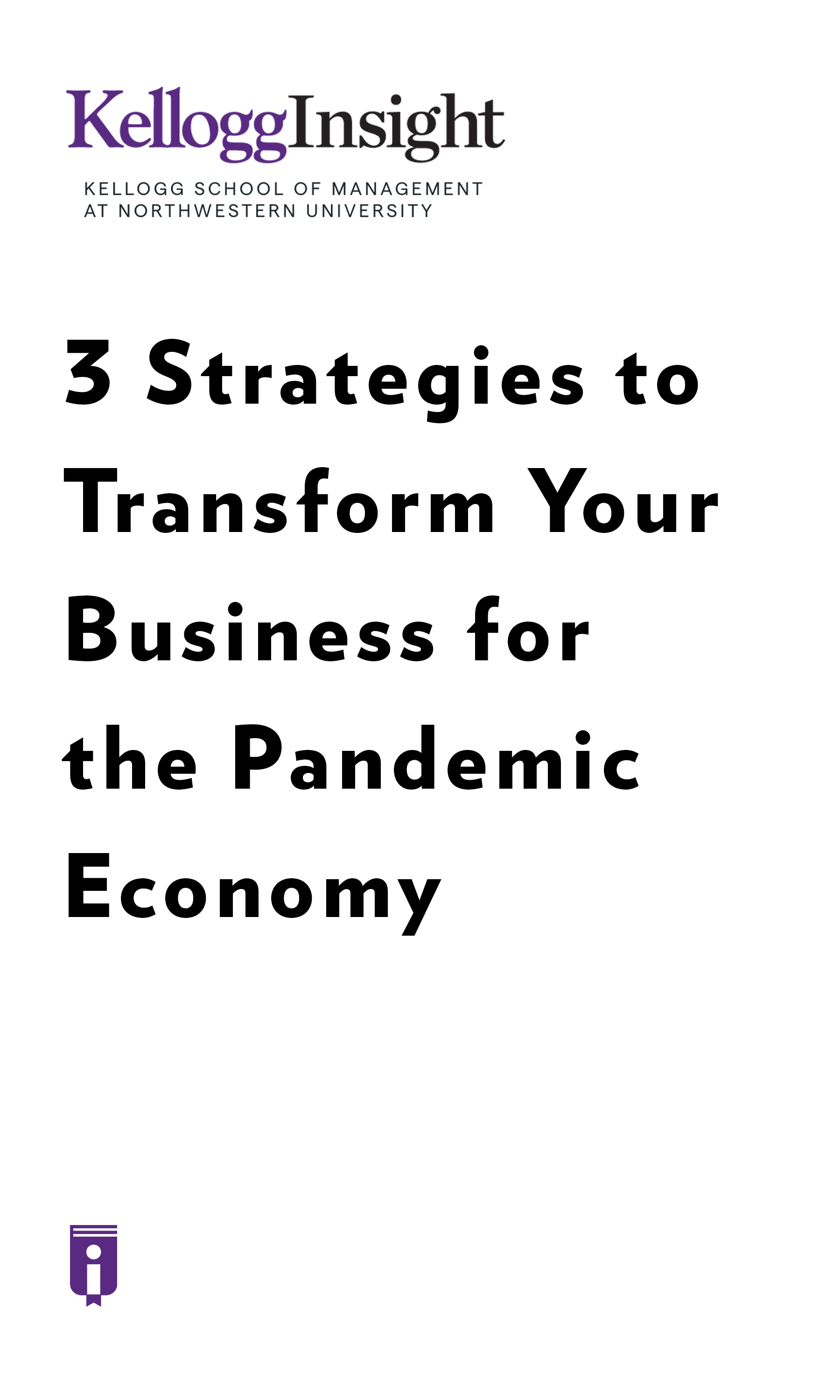 """Book Cover for """"3 Strategies to Transform Your Business for the Pandemic Economy"""""""