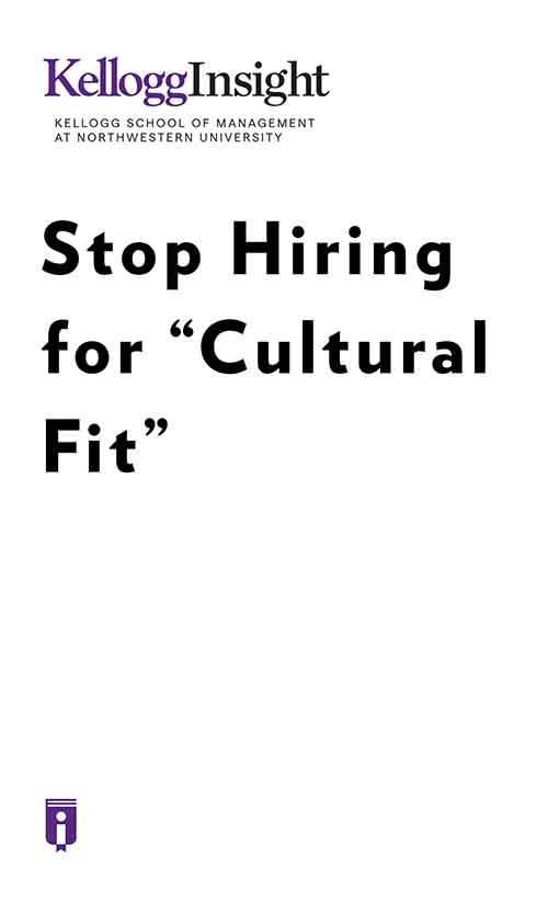 "Book Cover for ""Stop Hiring for 'Cultural Fit'"""