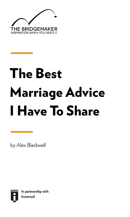 "Book Cover for ""The Best Marriage Advice I Have To Share"""
