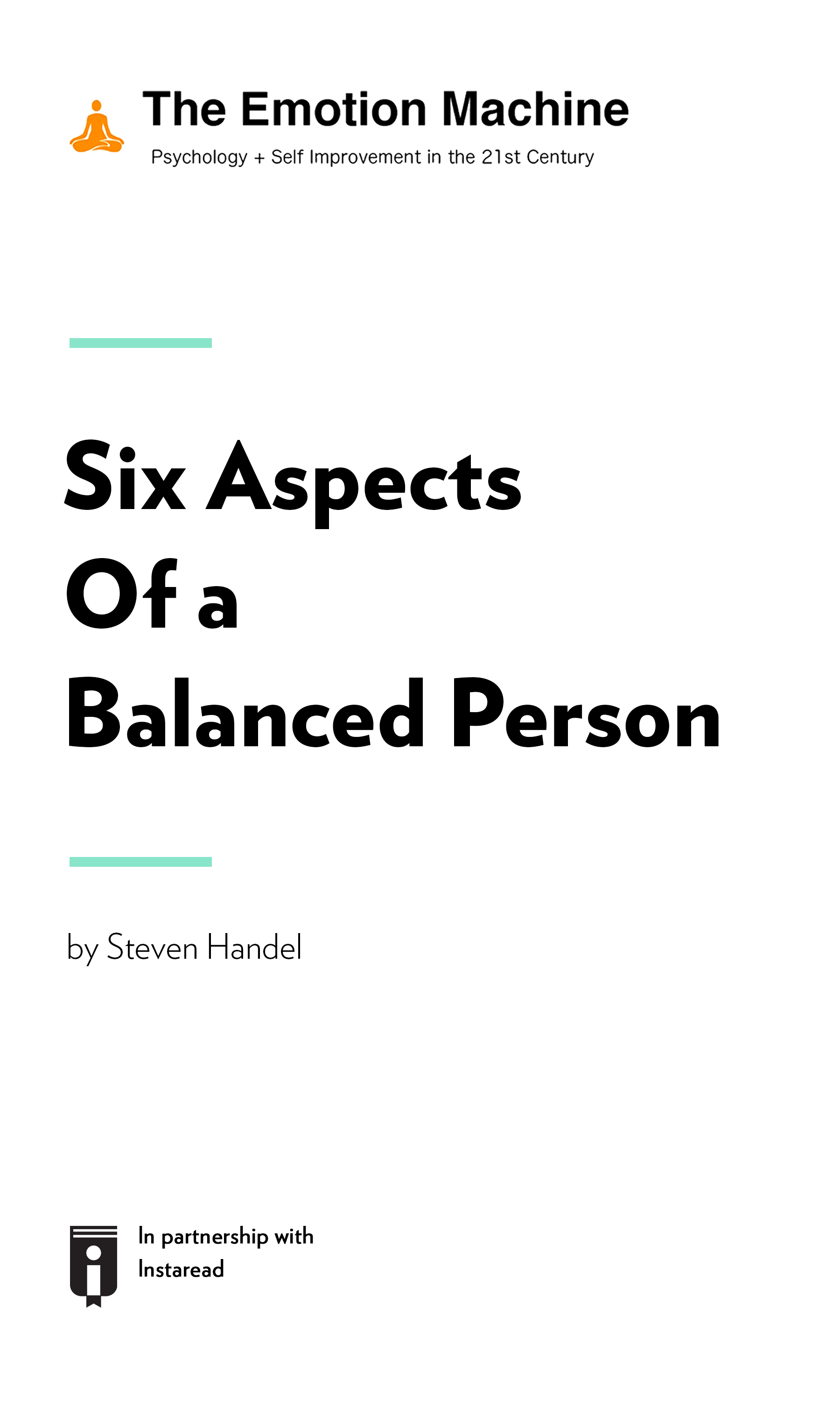 """Book Cover for """"Six Aspects Of A Balanced Person"""""""