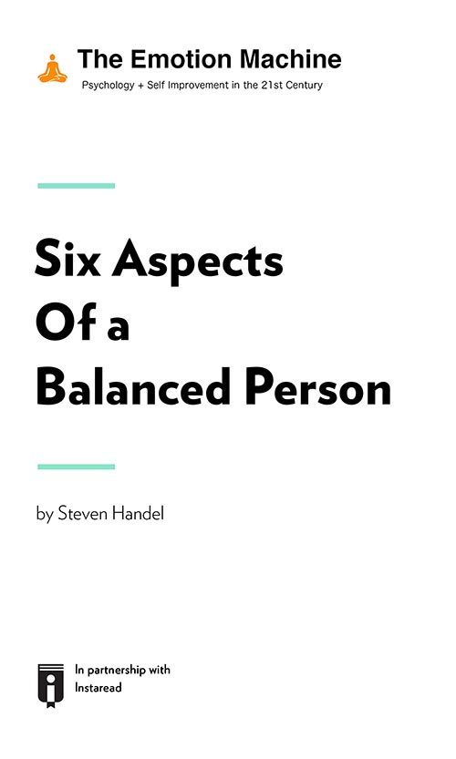 "Book Cover for ""Six Aspects Of A Balanced Person"""