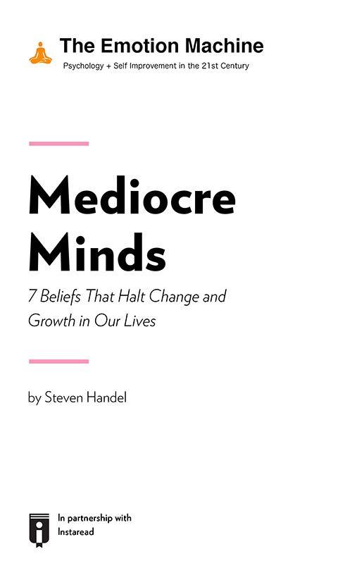 "Book Cover for ""Mediocre Minds: 7 Beliefs That Halt Change and Growth in Our Lives"""