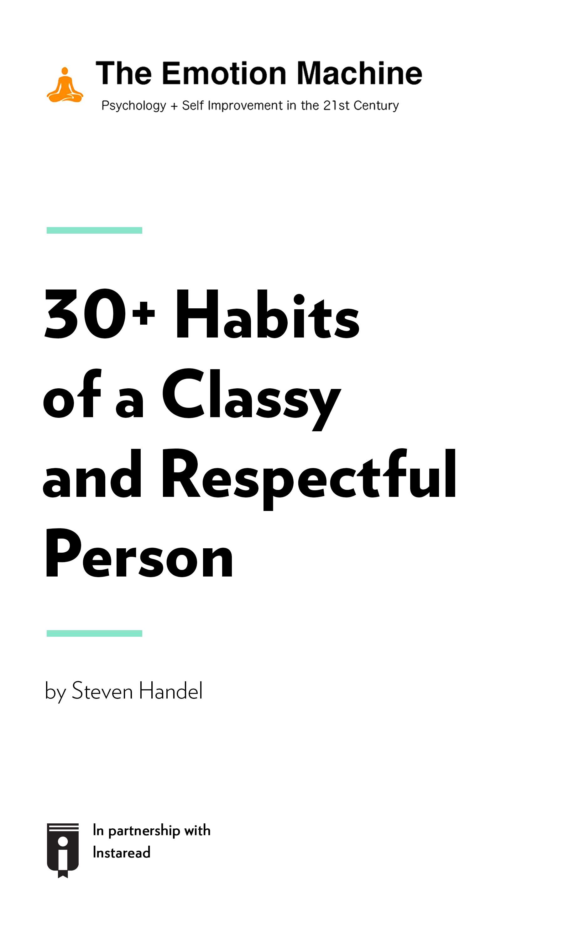 """Book Cover for """"30+ Habits of a Classy and Respectful Person"""""""