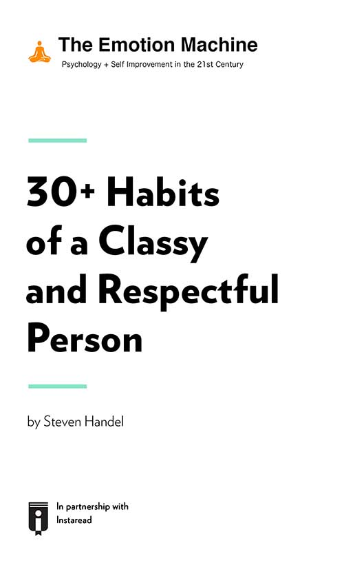 "Book Cover for ""30+ Habits of a Classy and Respectful Person"""