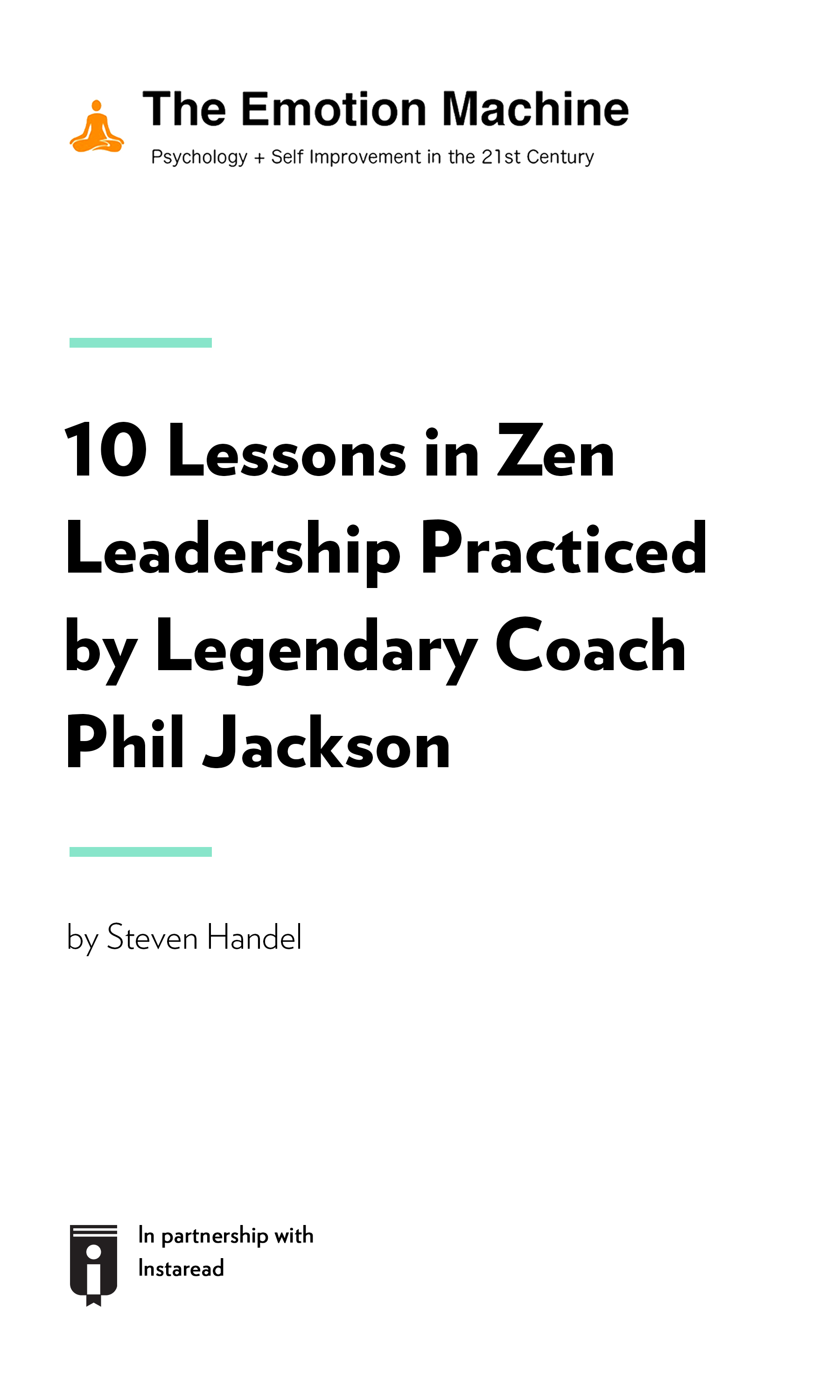 """Book Cover for """"10 Lessons in Zen Leadership Practiced by Legendary Coach Phil Jackson"""""""