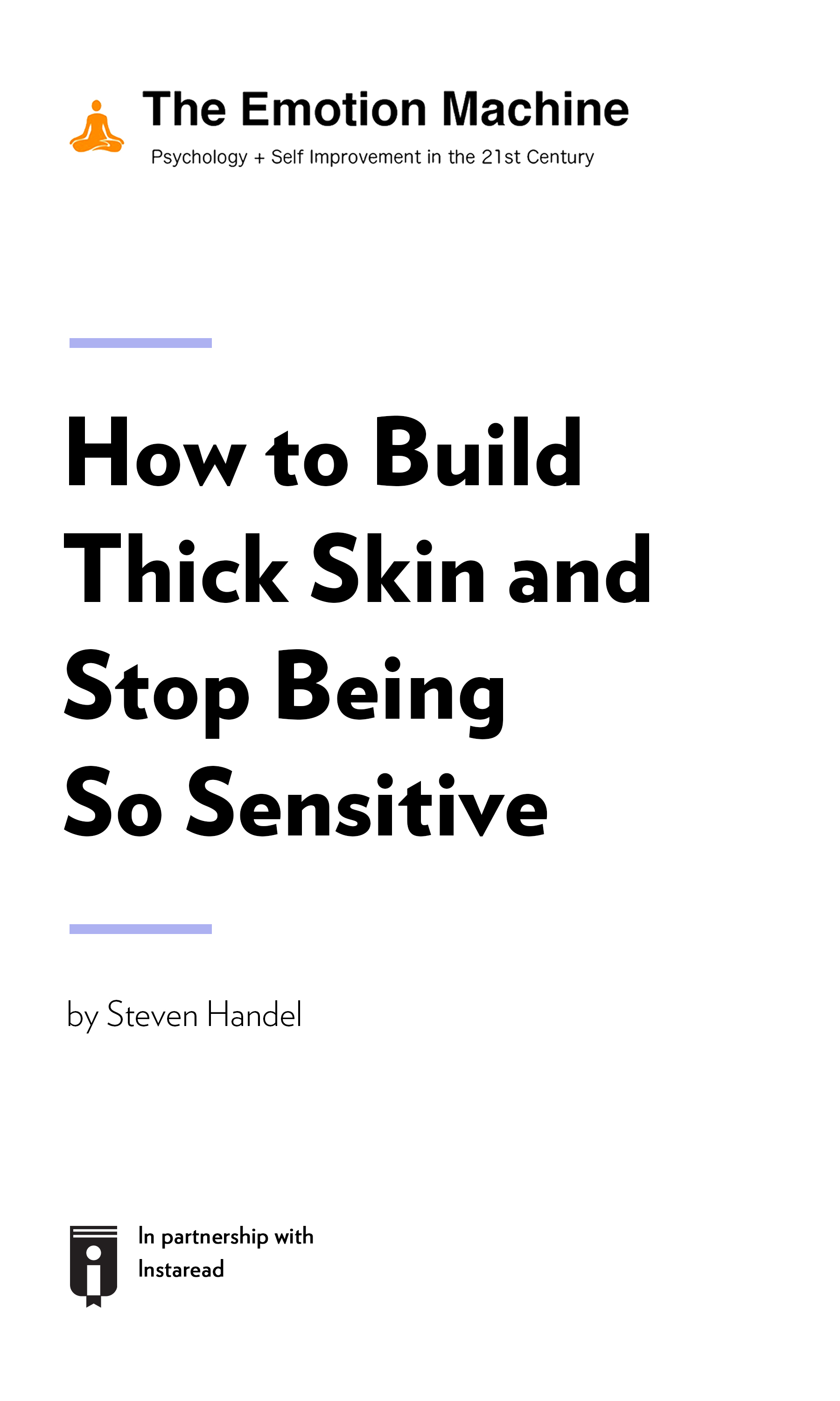"""Book Cover for """"How to Build Thick Skin and Stop Being So Sensitive"""""""
