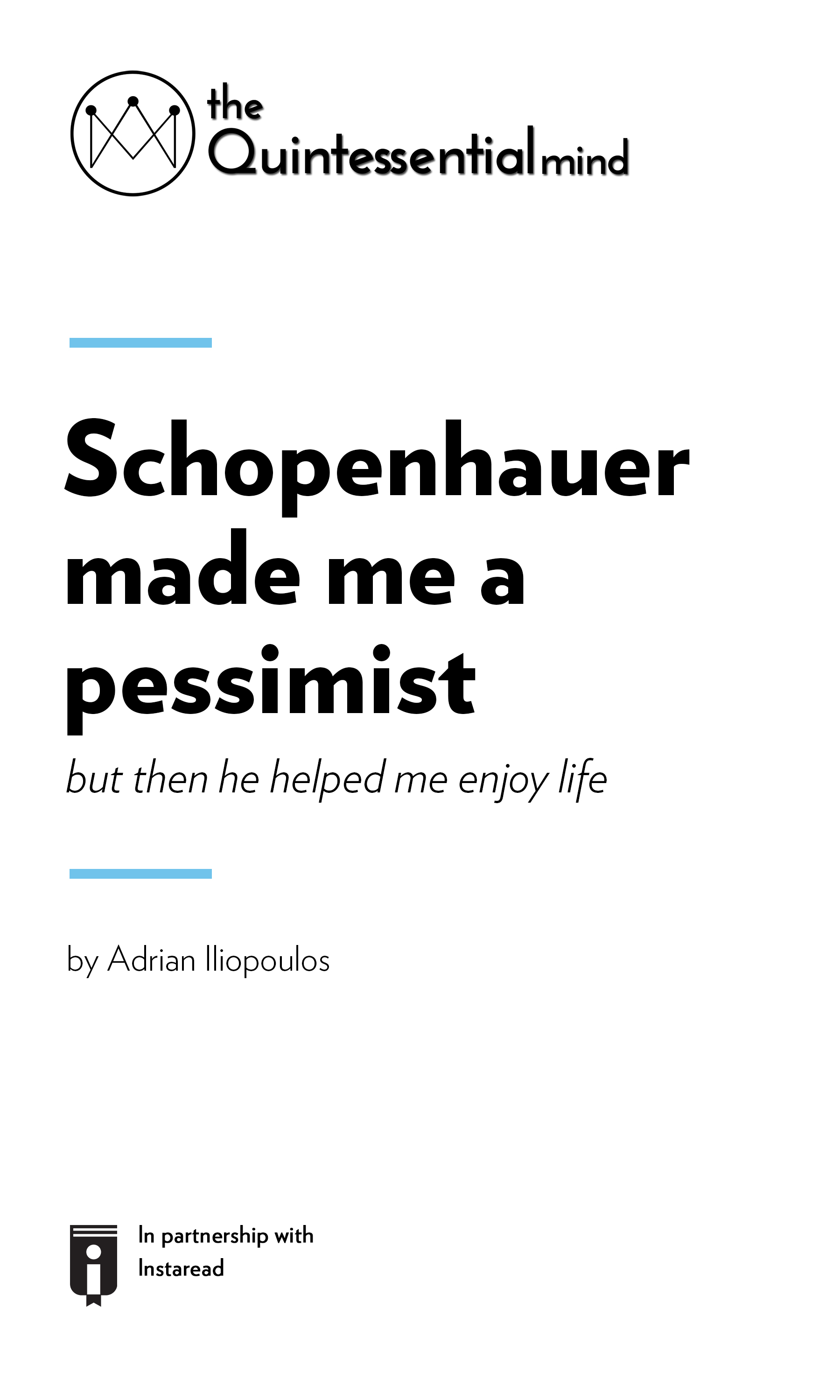 "Book Cover for ""Schopenhauer Made Me a Pessimist. But Then He Helped Me Enjoy Life"""
