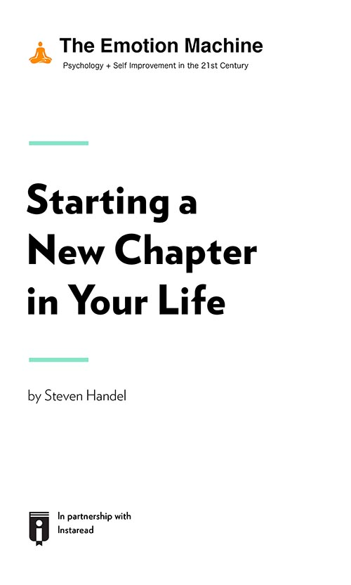 "Book Cover for ""Starting a New Chapter in Your Life"""