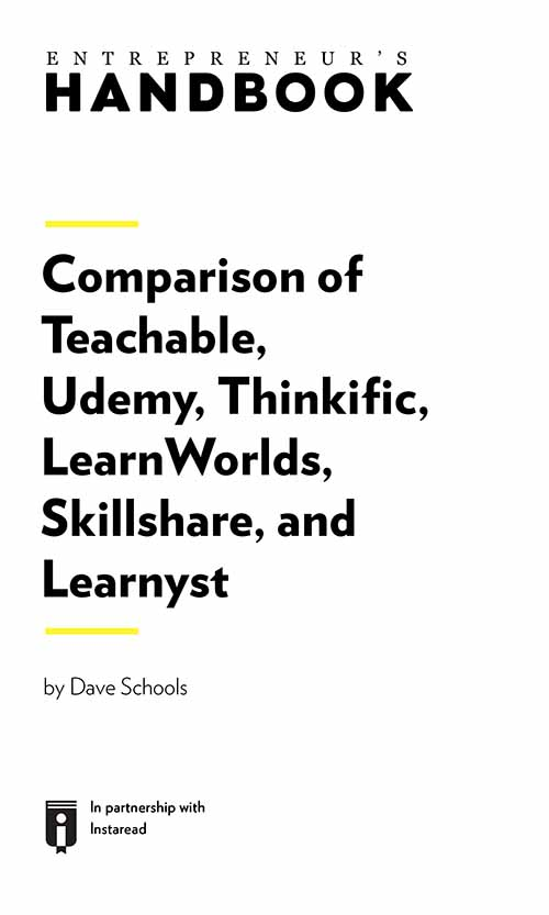 "Book Cover for ""Comparison of Teachable, Udemy, Thinkific, LearnWorlds, Skillshare, and Learnyst"""