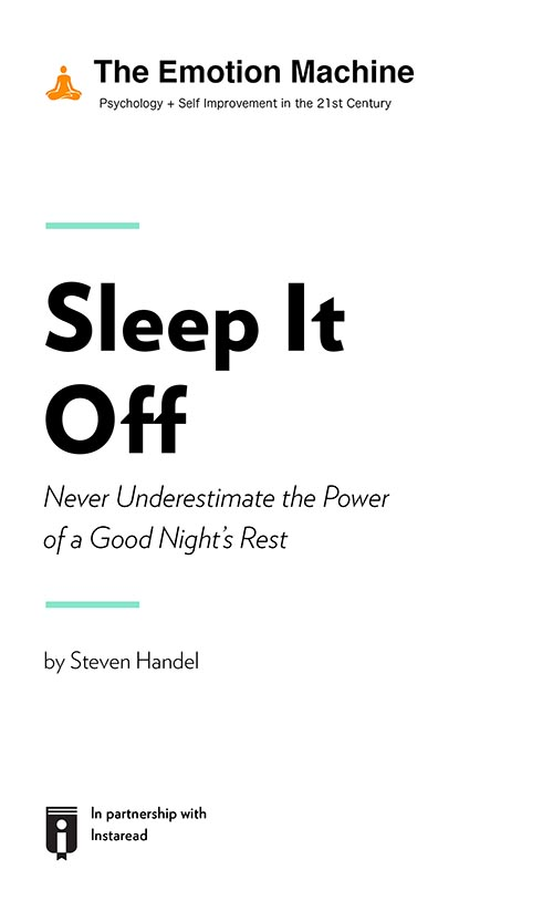 "Book Cover for ""Sleep It Off: Never Underestimate the Power of a Good Night's Rest"""