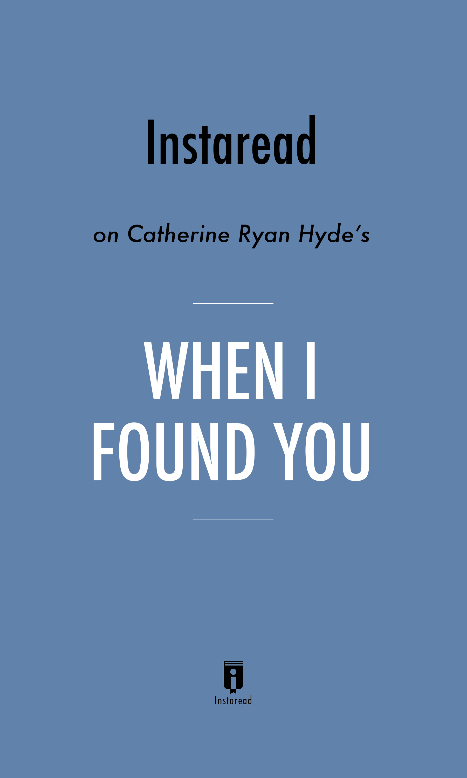 "Book Cover for ""When I Found You"""