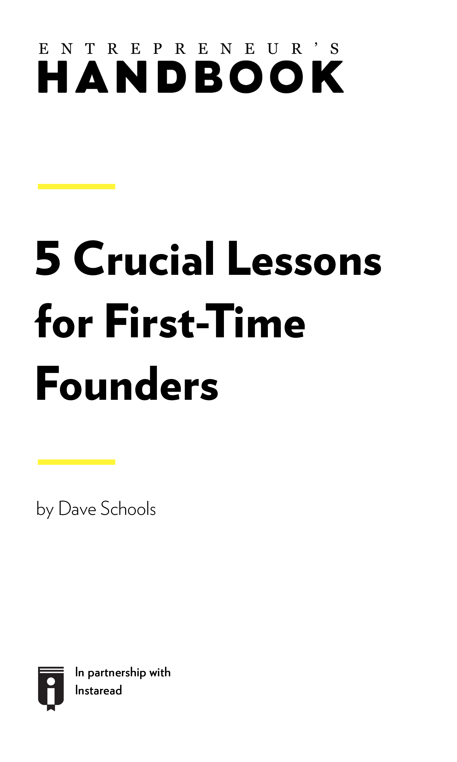 "Book Cover for ""5 Crucial Lessons for First-Time Founders"""