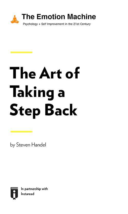 "Book Cover for ""The Art of Taking a Step Back"""