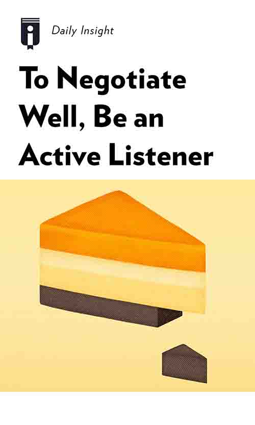 "Book Cover for ""To Negotiate Well, Be an Active Listener"""