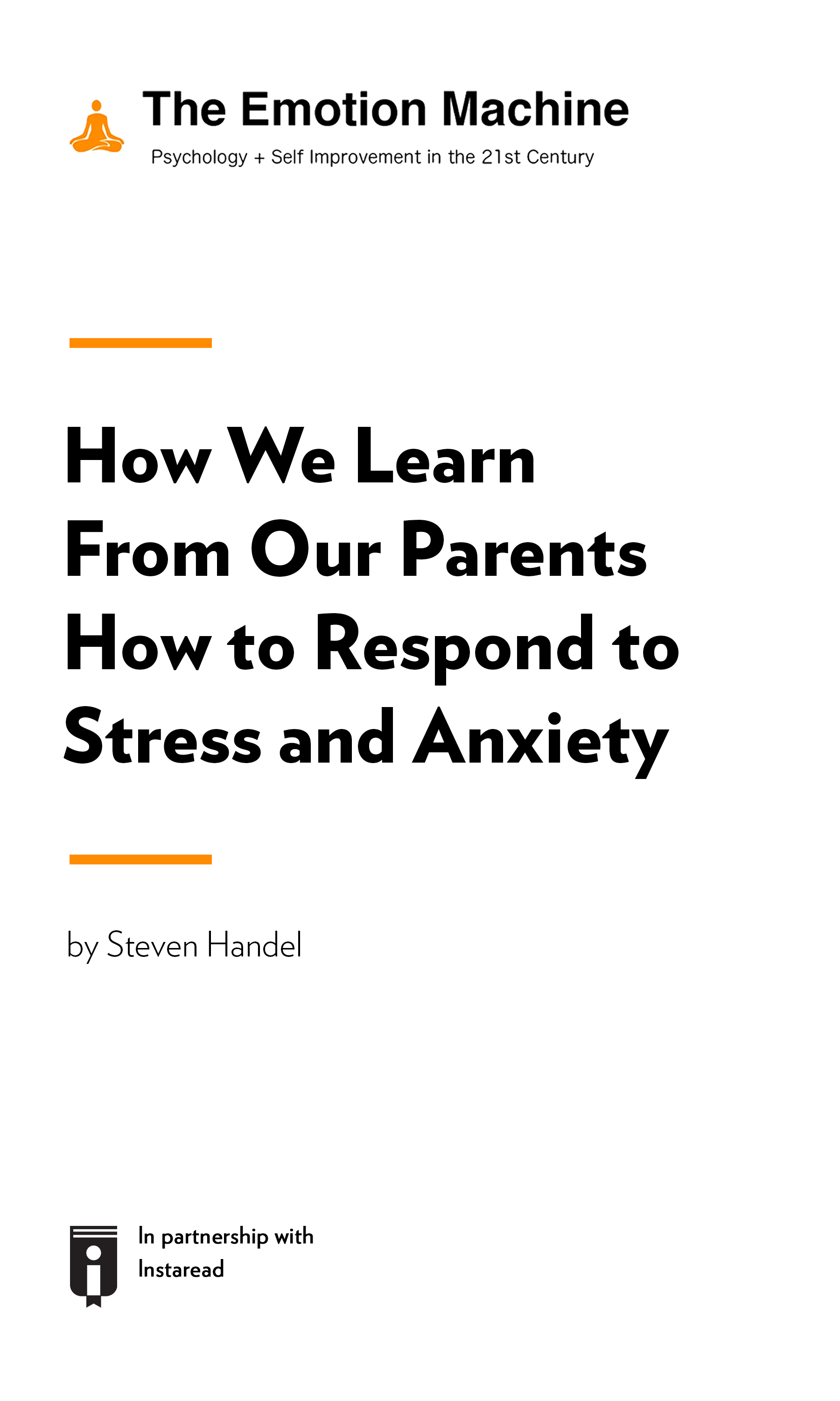 """Book Cover for """"How We Learn From Our Parents How to Respond to Stress and Anxiety"""""""