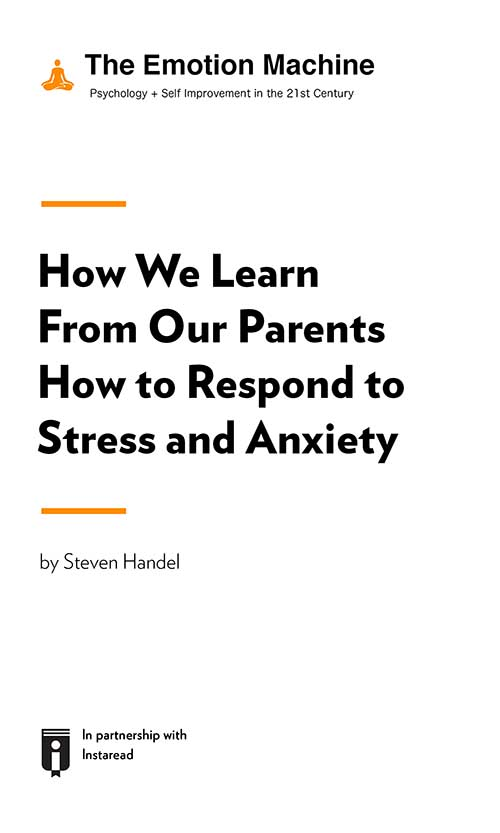 "Book Cover for ""How We Learn From Our Parents How to Respond to Stress and Anxiety"""