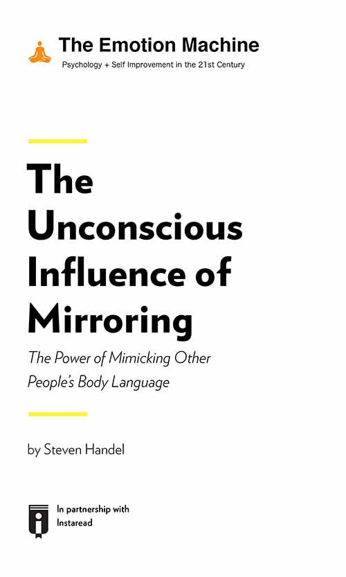 "Book Cover for ""The Unconscious Influence of Mirroring: The Power of Mimicking Other People's Body Language"""
