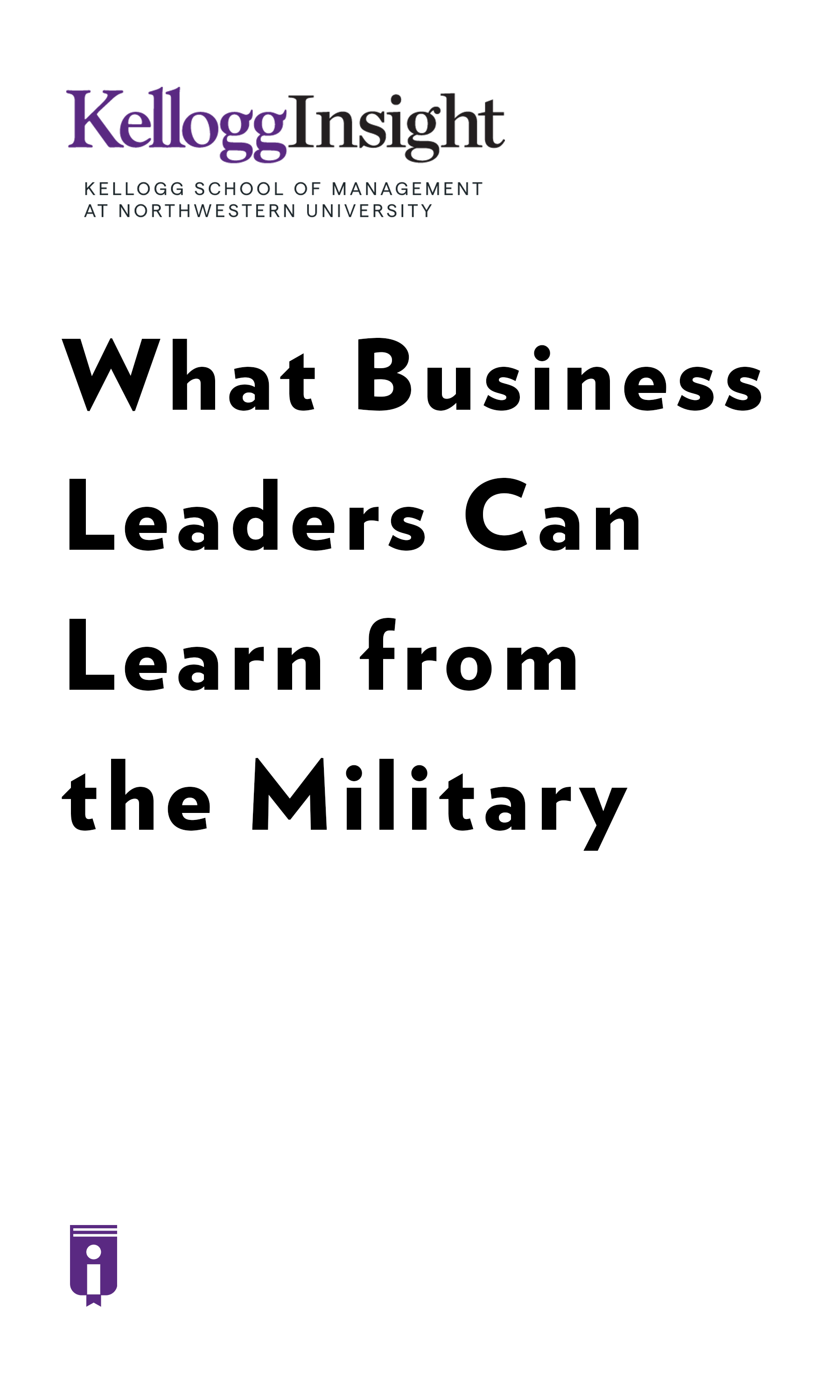 """Book Cover for """"What Business Leaders Can Learn from the Military"""""""