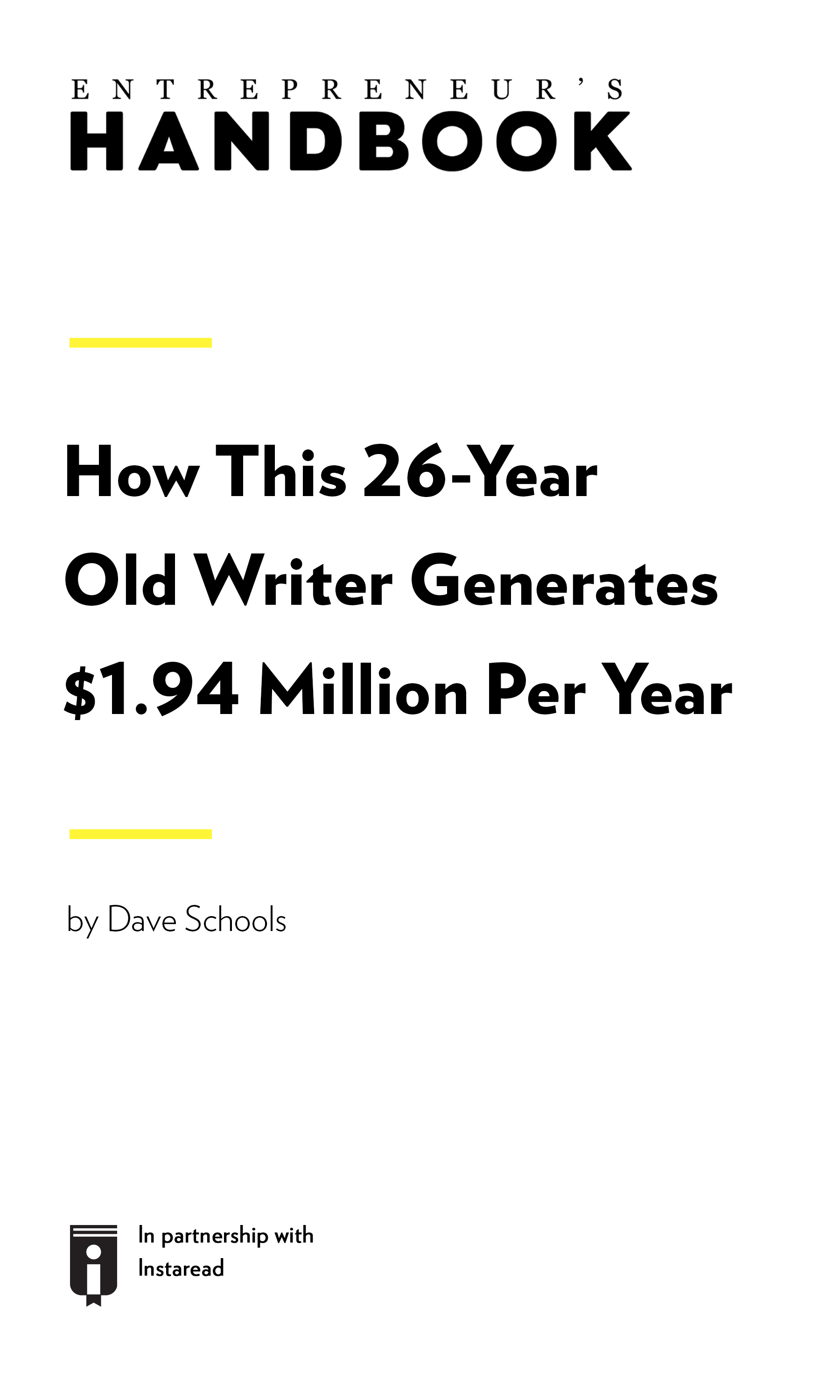 "Book Cover for ""How This 26-Year-Old Writer Generates $1.94 Million Per Year"""