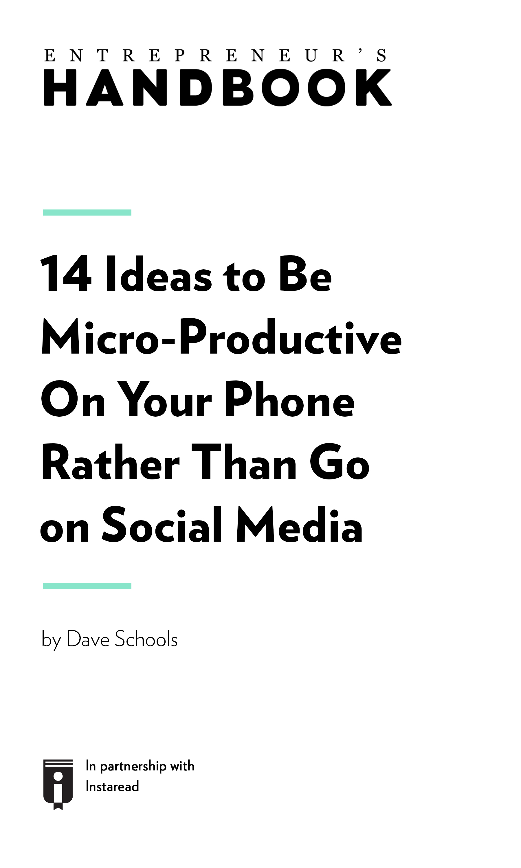 "Book Cover for ""14 Ideas to Be Micro-Productive On Your Phone Rather Than Go on Social Media"""