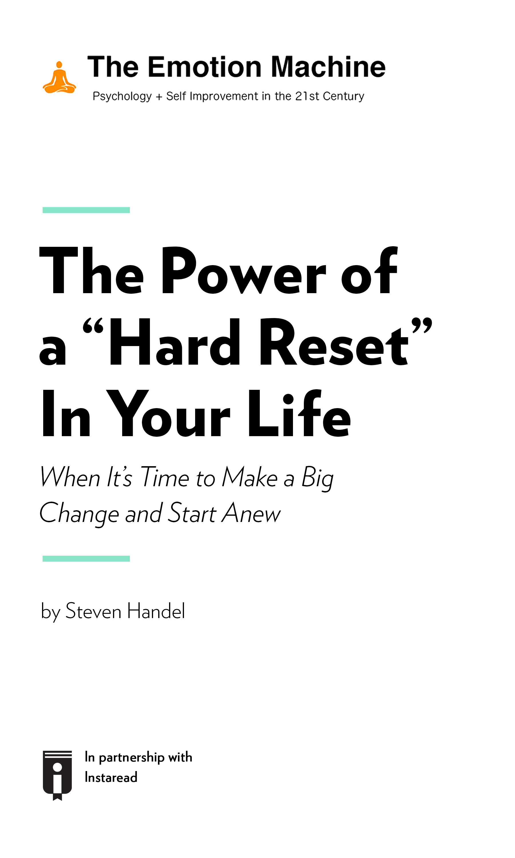 """Book Cover for """"The Power of a """"Hard Reset"""" In Your Life: When It's Time to Make a Big Change and Start Anew"""""""