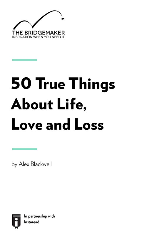 "Book Cover for ""50 True Things About Life, Love And Loss"""