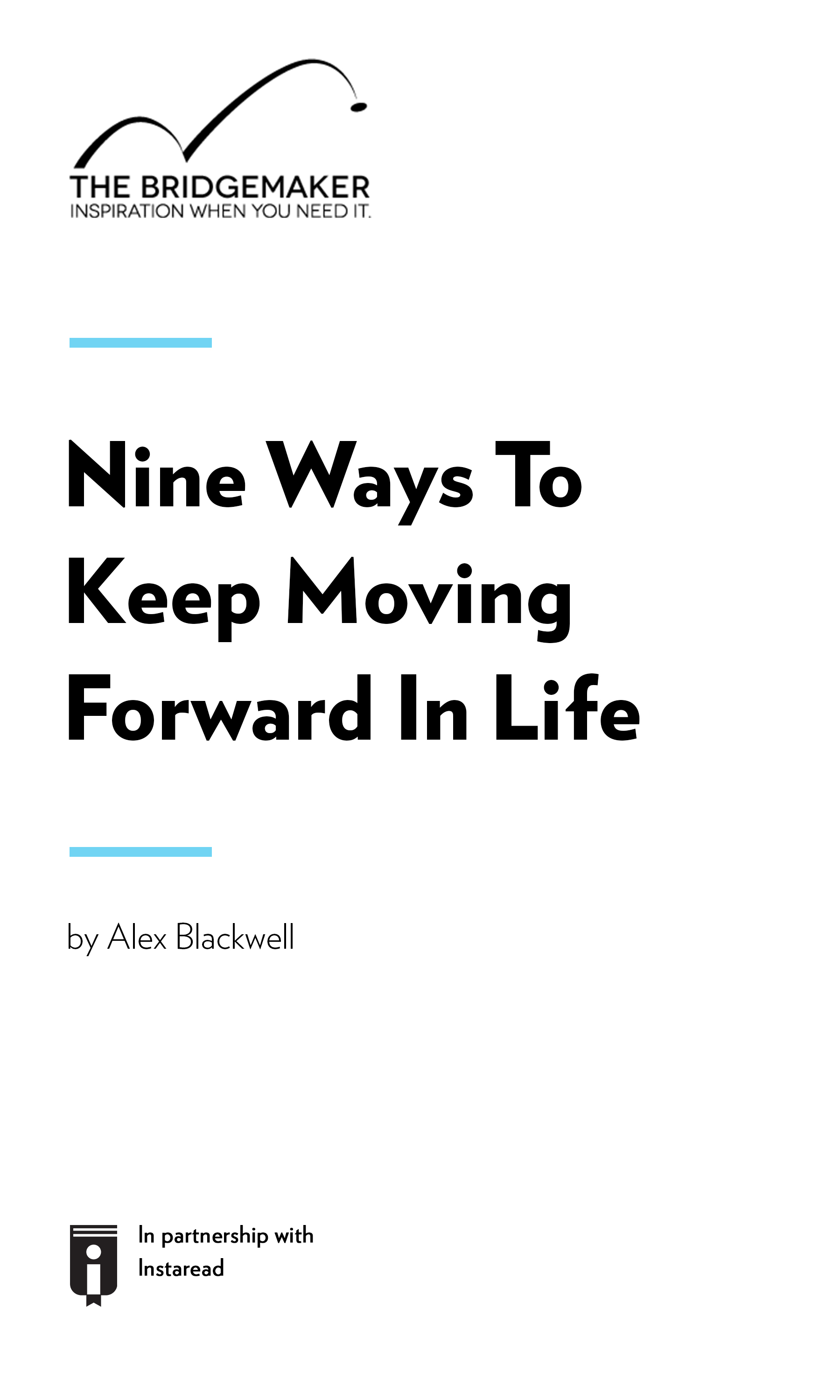 """Book Cover for """"Nine Ways To Keep Moving Forward In Life"""""""