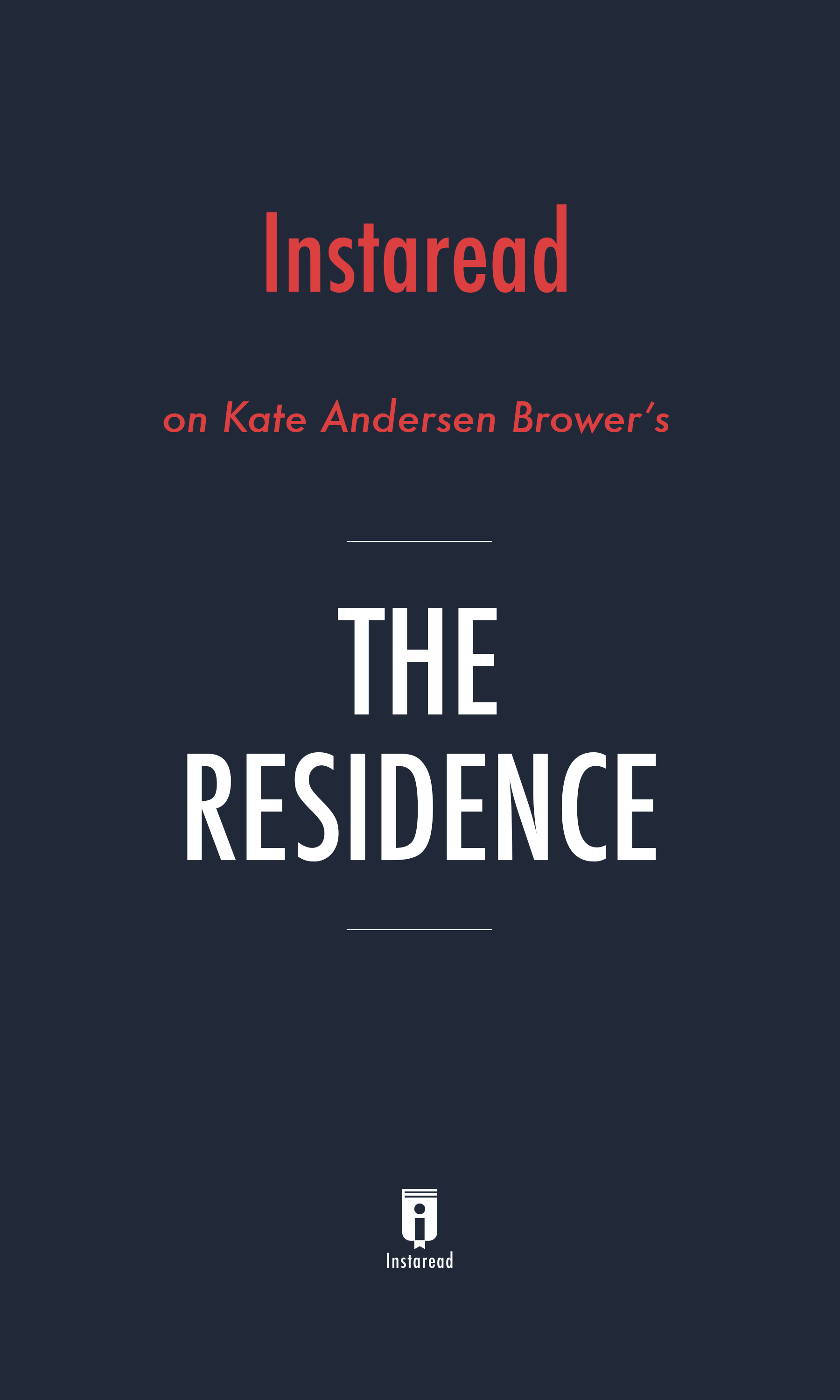 """Book Cover for """"The Residence"""""""