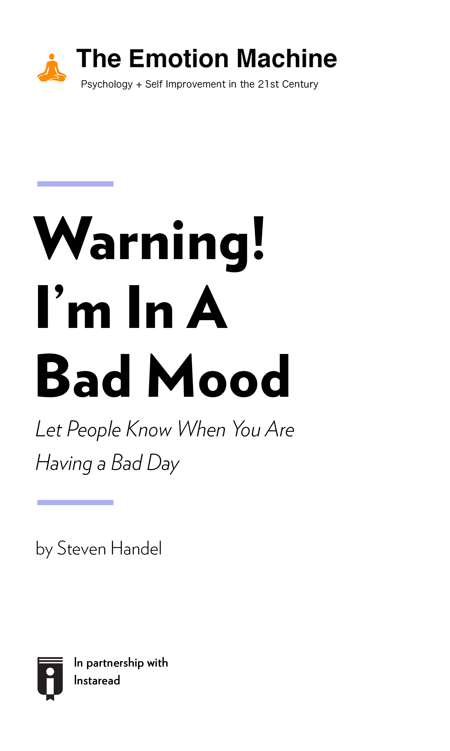 "Book Cover for ""Warning! I'm In A Bad Mood: Let People Know When You Are Having a Bad Day"""