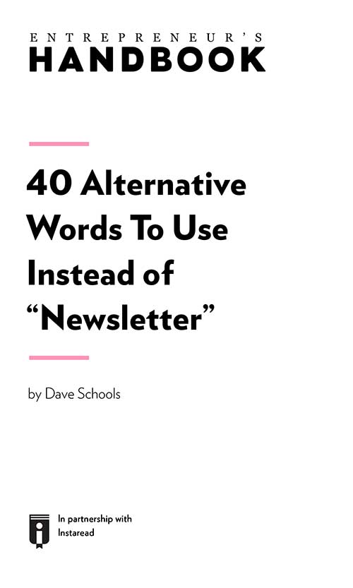 "Book Cover for ""40 Alternative Words to Use Instead of ""Newsletter"""""
