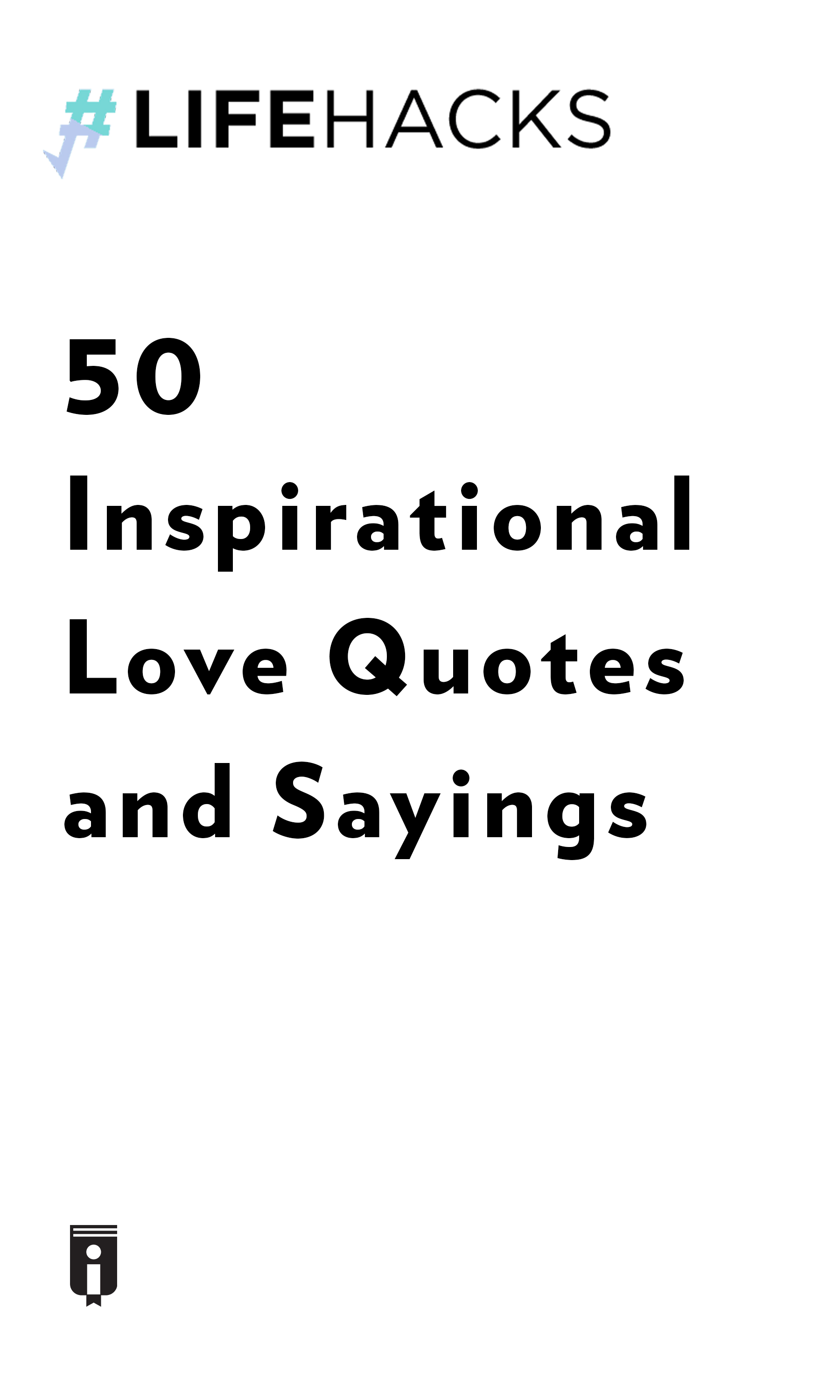 """Book Cover for """"50 Inspirational Love Quotes and Sayings"""""""