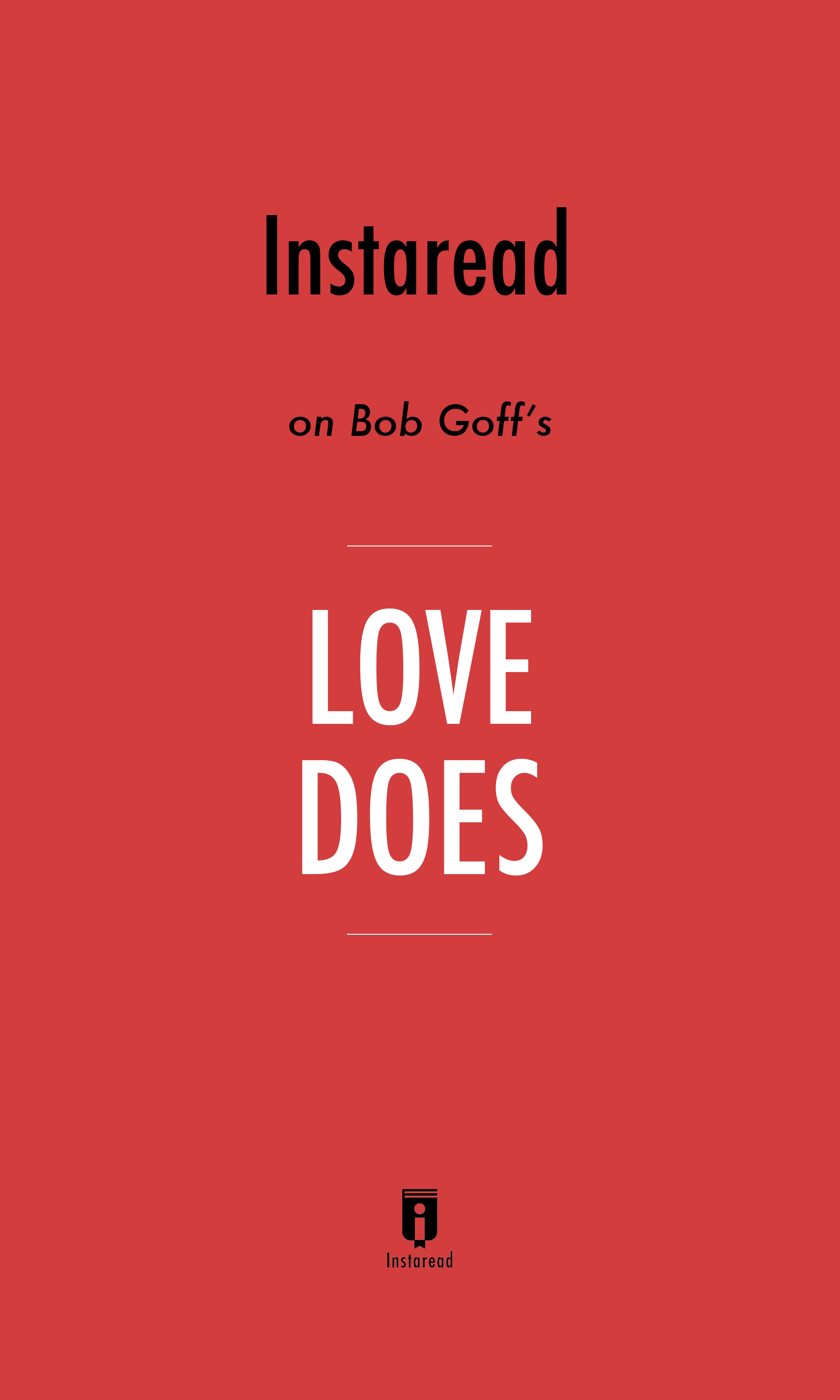 "Book Cover for ""Love Does"""