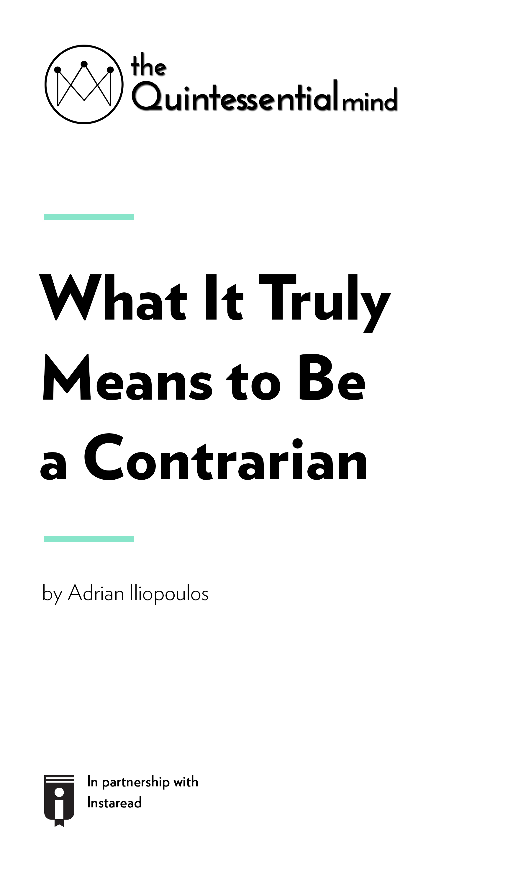 """Book Cover for """"What It Truly Means to Be a Contrarian"""""""