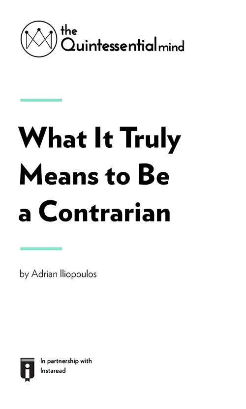 "Book Cover for ""What It Truly Means to Be a Contrarian"""