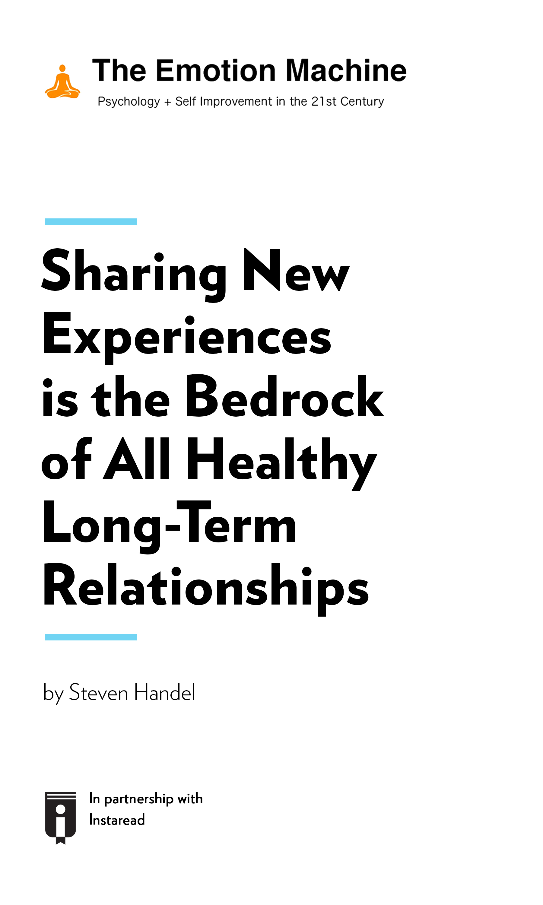 """Book Cover for """"Sharing New Experiences is the Bedrock of All Healthy Long-Term Relationships"""""""