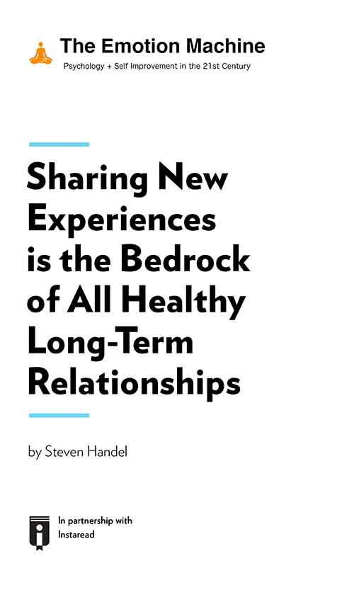 "Book Cover for ""Sharing New Experiences is the Bedrock of All Healthy Long-Term Relationships"""